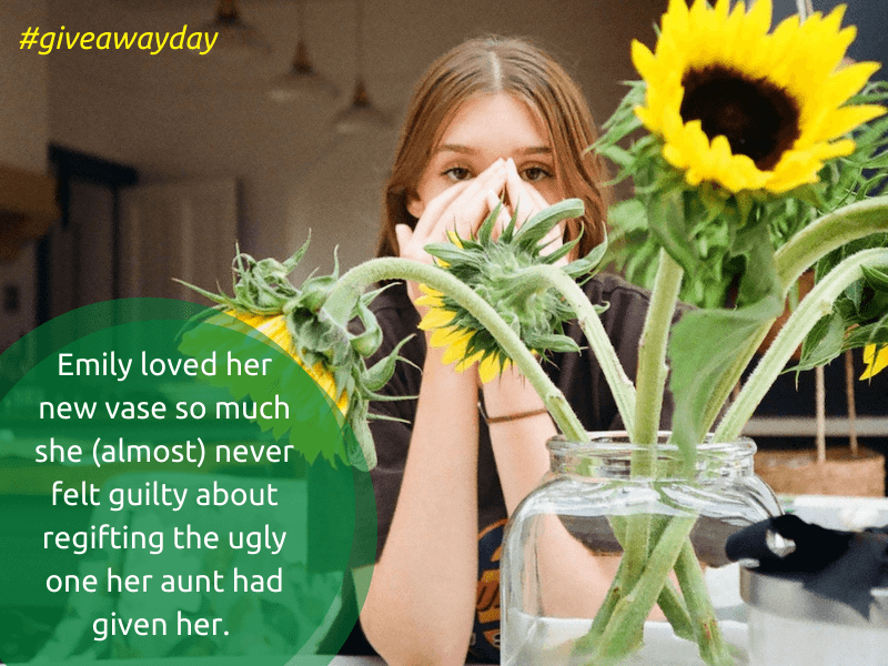 young woman with sunflowers on give away day