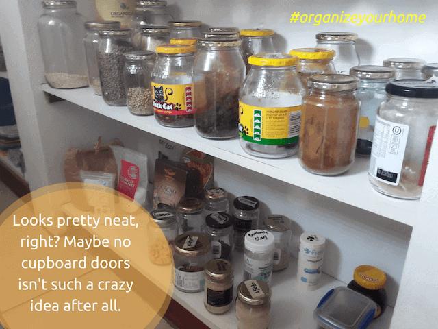 organised kitchen cupboards