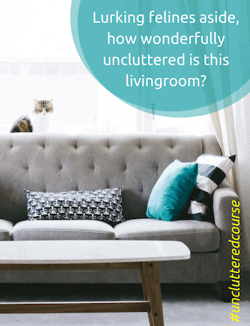 neat and tidy living room after uncluttered course